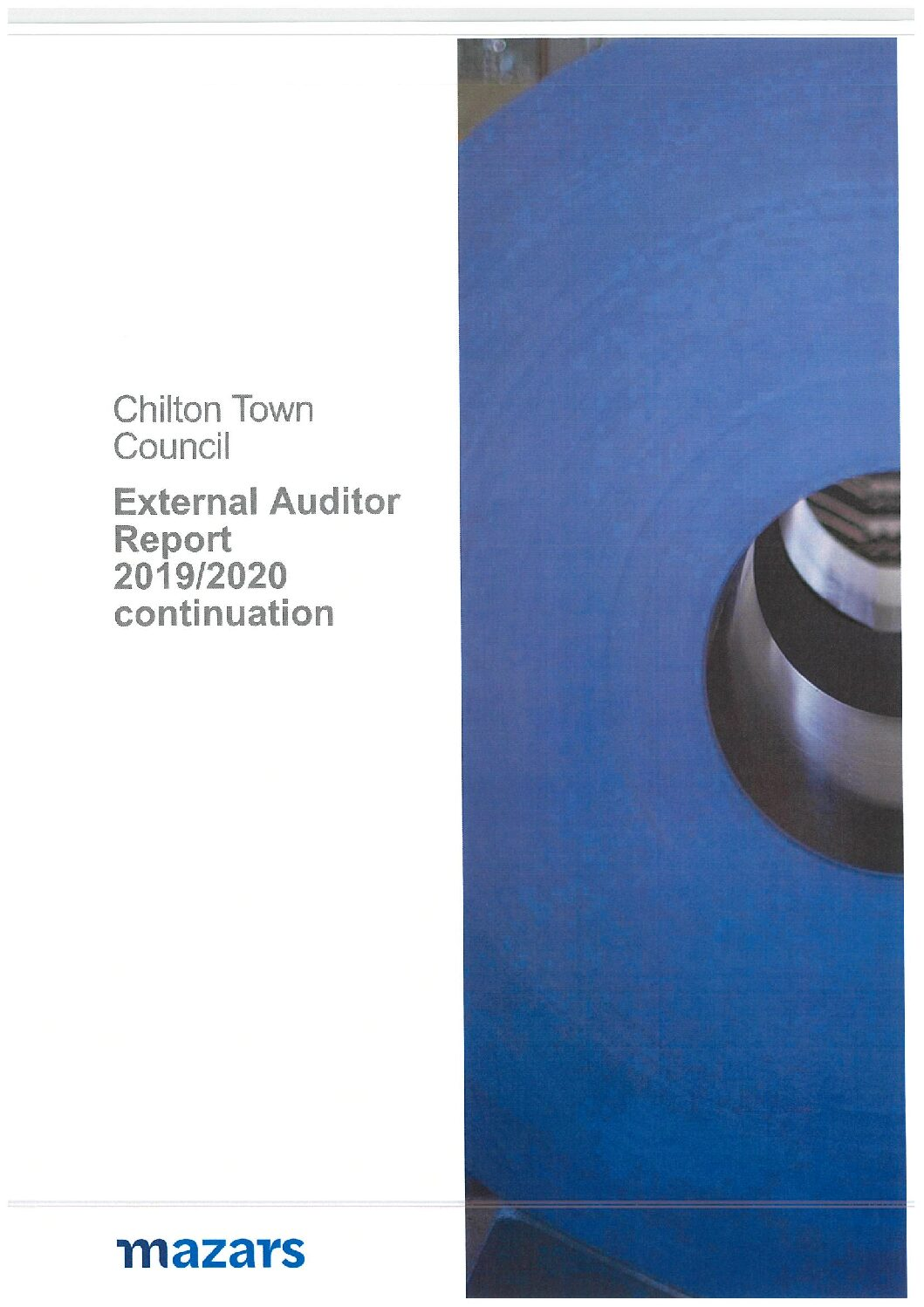 External Auditor Reports on Chilton Town Council accounts for year ending 31st March 2020