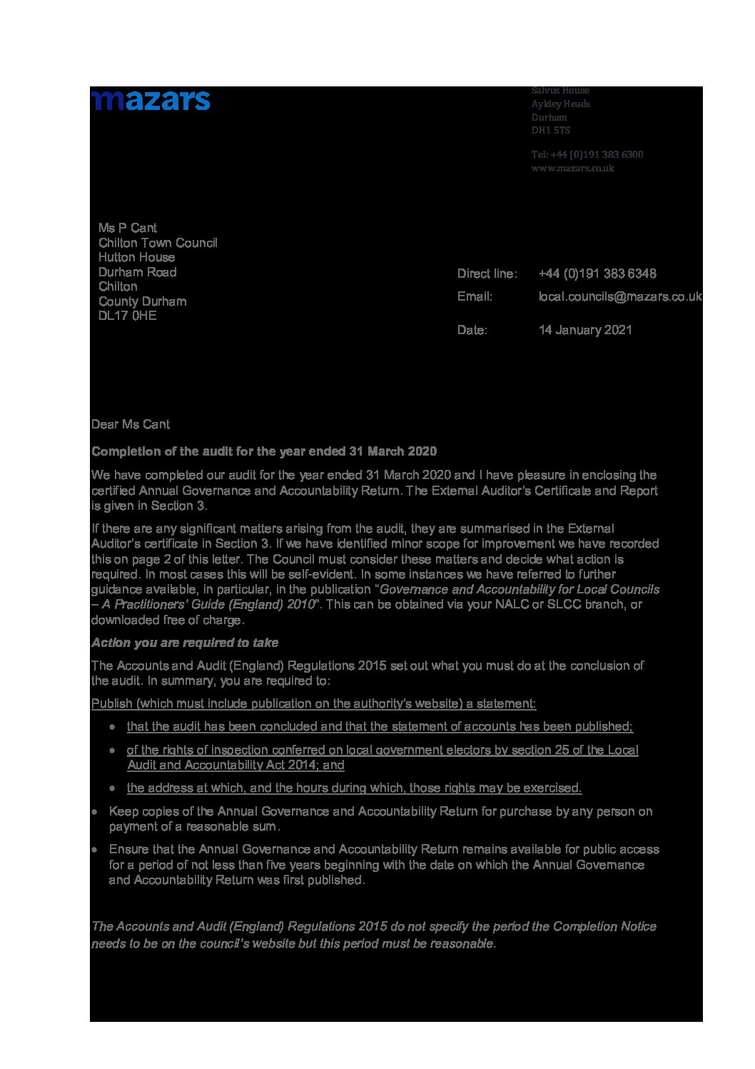 Letter from Mazars re Completion of the audit for accounts for year ending 31st March 2020